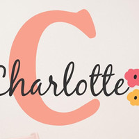 Peach Flower Girls Name Wall Decal- by Decor Designs Decals, Flowers Wall Decal, Baby Girl Nursery, Name Wall Decal, Baby Girl Name, Nursery Decal, Flower Name- B6