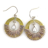 Pearl Sterling Silver Two Tone Earrings