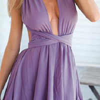 Purple Wrap Backless Romper