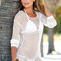 White Crochet Beach Cover-up