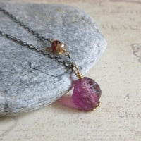 Purple Fluorite Necklace, Pink Tourmaline Necklace, Sterling Silver Chain, Gold Filled Wire Wrap, Raw Fluorite Pendant