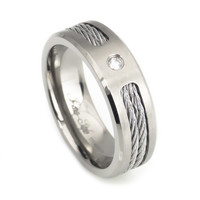 Diamond Twisted cable Inlay men's titanium wedding band
