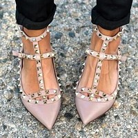 Valentino Popular Women Rivet Pointed Flat Sandals Shoes Nude Pink