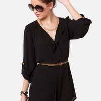 Keep it Real Belted Black Shirt Dress