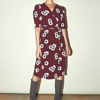 Vintage Print Midi Dress Women V Neck Wrap Sashes Holiday Casual High Waist Dress