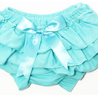 Kutsie Baby Aqua Cotton Bloomers with Satin Bow