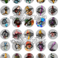Mask & Fish Mask Fractal Art - - Digital Collage Sheets - 1.5 inch Circles for Jewelry Makers, Party Favors, Wedding Projects, Crafts