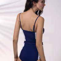 Navy Contrast Color Cupped Swimsuit