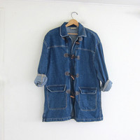 vintage denim jean jacket with toggles // field jacket