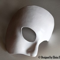 Phantom of the Opera White Leather Half Mask Theater Halloween Costume