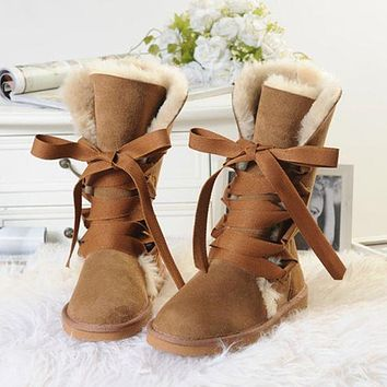 UGG hot new style warm and non-slip strap high-top snow shoes fashion ladies outdoor snow boots
