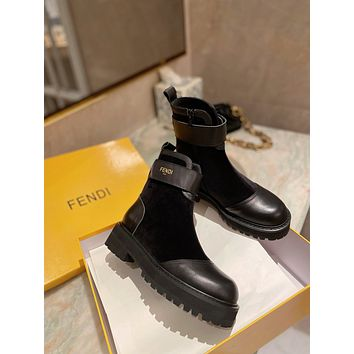 FENDI2021 Trending Women's men Leather Side Zip Lace-up Ankle Boots Shoes High Boots08190wk
