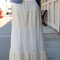 Lace All Over Maxi Skirt {Cream}