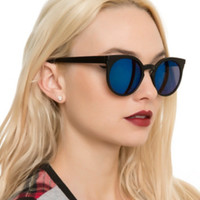 Matte Black Blue Mirror Cateye Sunglasses