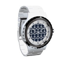 Navy Blue/White Nautical Anchor Pattern w/Numbers Wrist Watch from Zazzle.com