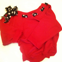 Wide Neck Sweatshirt with Polka Dot Bow Red Black Razorbacks