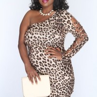 Brown Leopard Print One Shoulder Sexy Party Dress AMI+