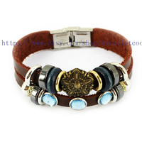 Real Soft Brown Leather Women Leather Jewelry Bangle Cuff Bracelet Men Leather Bracelet, Cuff Bangle R005