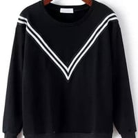 Black Round Neck V Striped Sweatshirt