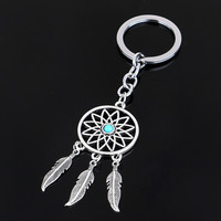 Dreamcatcher Turquoise Feather Tassel Keychain Bag Handbag Key Ring Car Key Pendant Feida