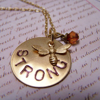 Bee Strong Necklace by EmilinaBallerina on Etsy