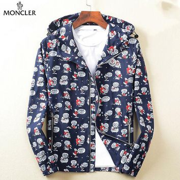 MONCLER fashion casual men and women full of graffiti hooded jackets