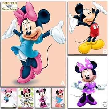Peter ren Diamond painting Cross stitch kits Anime DIY Crafts 3d square icon Diamond mosaic picture full Embroidery Mickey Mouse