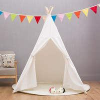 Four Poles Indian Play Tent Cartoon Children Teepees Kids Tipi Tent Cotton Canvas Teepee White Play House for Baby Room