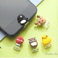 1PC Cute Animal Ninja, Reindeer, Owl, Duck, Pengiun Apple iPhone 5 Home Button Sticker w/Data Cable Antidust Stopper, Cell Phone Charm