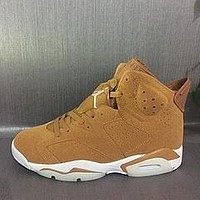Nike Air Jordan Retro 6 GOLDEN HARVEST Wheat Golden Harvest/Elemental Gold 384664-705 Men Basketball Sneaker Sport Shoes