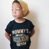 Mommy's Knight in Shining Armor Tee Baby Shower Gift Bodysuit Baby Boy Clothes Baby Boy Shirt Baby Clothes Baby Gift Black and Gold