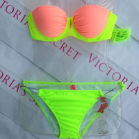 New 2013 Sexy Victoria's Secret Gorgeous Push Up Bikini 34A M Tropical Punch