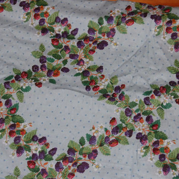 """Vintage Pale Blue Berries and Polka Dots Printed Upholstery Chintz Fabric 5 yds x 53"""" wide"""