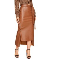 SHERYL Ladies Split Hem Front Double Button Belted Leather Look Long Skirt