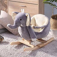 P PURLOVE Stuffed Animal Rocking Horse Toy, Elephant Ride-on Rocker for Kids, Plush Rocking Animals w/ Seat Belt & Wood Handle, Child Birthday Gift (Gray Elephant)