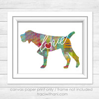 German Wirehaired Pointer (GWP) Love - Canvas Paper Print: A Colorful, Watercolor Style Art Piece - German Wirehair, Deutsch Drahthaar