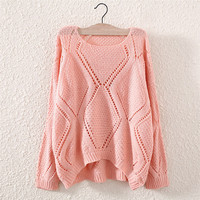 Fashion Women's Pink Hollow Knit Pullover Sweater