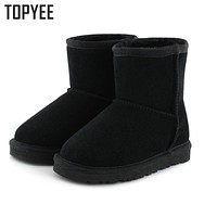 2017 New Children Boots For Small Kids Girls Snow Boots Boys Genuine Leather Artificial Fur Warm Thick Winter Shoes EU 24-34
