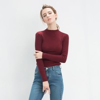 Knit Tops Winter Korean Stylish Round-neck Slim Sweater [9022912327]