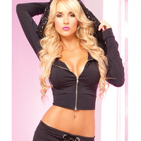 Pink Lipstick Loungewear Stretch Cropped Hoodie W-giant Sequin-lined Hood Blk Sm