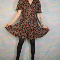 90s Romper Floral Playsuit Shorts Corset Tie Vintage Grunge Navy Women's Clothing Size Medium  Large Soft Gruge Hipster 1990s Scalloped