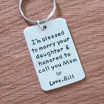 Mother of the bride gift from groom - signed wedding gift for mother of the bride - Mother in law wedding gift - keychain keyring