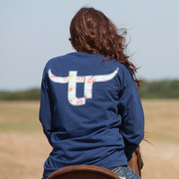 Women's TeamRoper Floral Long Sleeve Navy T-Shirt