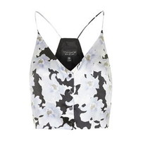 Silk Floral Print Cropped Cami by Topshop Reclaim - Pale Blue