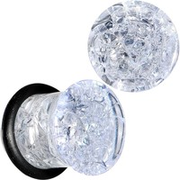 00 Gauge Clear Crackled Glass Acrylic Plug