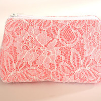 Lace Clutch in Salmon Pink Bridesmaid Clutch Makeup Bag Cosmetic Case Accessories Pouch Wedding Gift Zippered Lace Flat Bottom Clutch Pouch