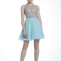 PRIMA C1502 Aqua High Neck Homecoming Cocktail Dress