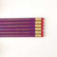the wit and wisdom of the dowager. 6 engraved plum pencils.