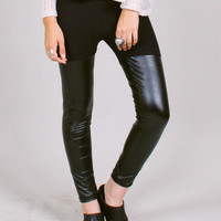 Black thigh-hi leggings - vegan faux leather