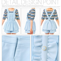 【M~LL】2WAY peplum frill☆Overalls short pants
